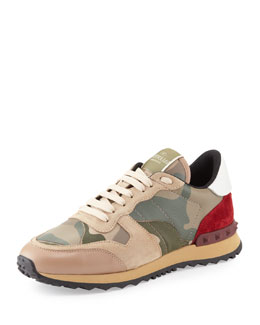 Valentino Rockstud Camo-Print Sneaker, Taupe