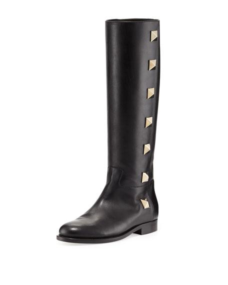 Rockstud Lock Flat Knee Boot, Black