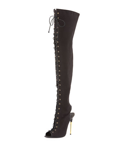 Tom Ford Canvas Lace-Up Over-the-Knee Boot