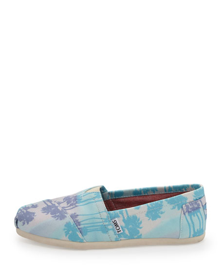 Palm Tree Canvas Slip-On, Blue