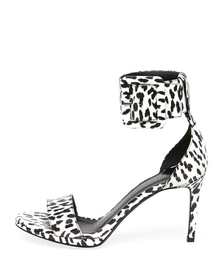 Cheetah-Print Ankle-Wrap Sandal, Black/White
