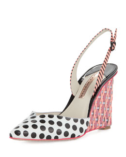 Sophia Webster Lois Polka-Dot Slingback Wedge