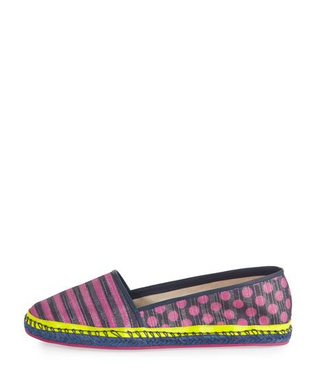 Sophia Webster Juana Striped Espadrille Flat, Navy/Pink