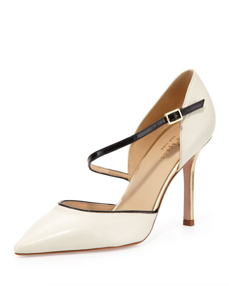 piccola asymmetric ankle-strap pump, cream