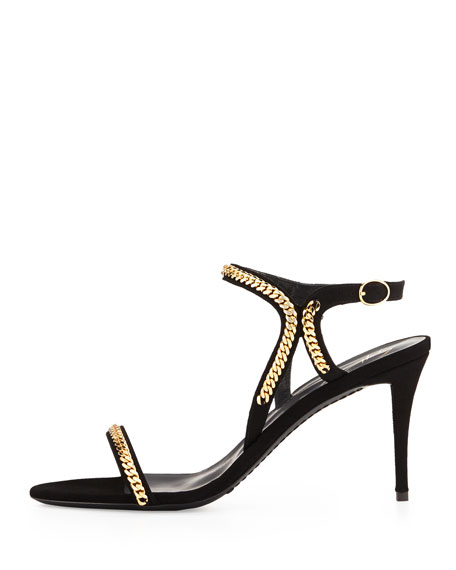 Suede Chain Link Ankle-Wrap Sandal, Black