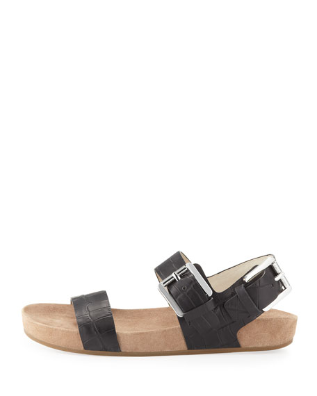 Sawyer Crocodile-Embossed Sandal