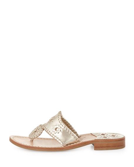Hamptons Whipstitch Thong Sandal, Platinum
