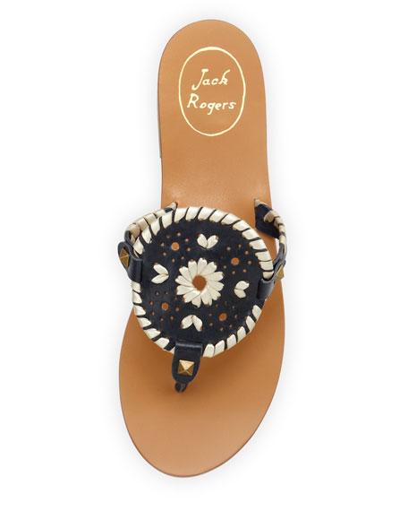 Georgica Leather Thong Sandal, Navy/Platinum