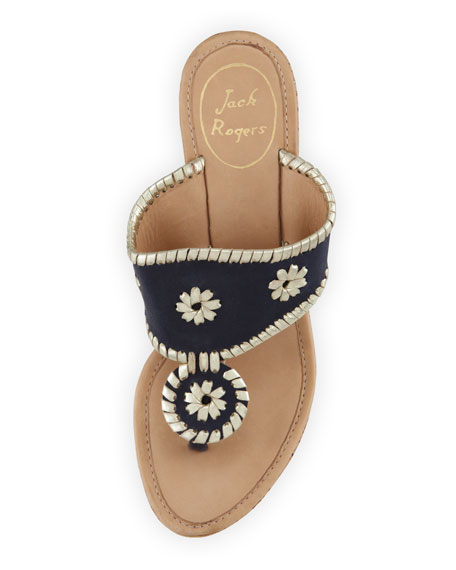 Marbella Leather Wedge Sandal, Navy/Platinum