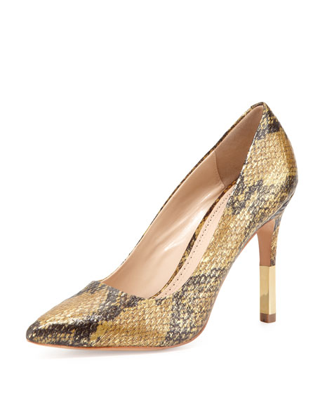 Camrin Watersnake Dress Pump, Gold