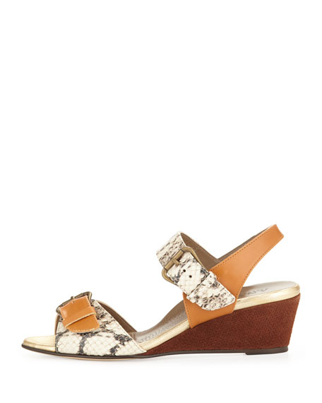 Daisy Snake-Print Wedge Sandal