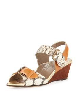 Anyi Lu Daisy Snake-Print Wedge Sandal