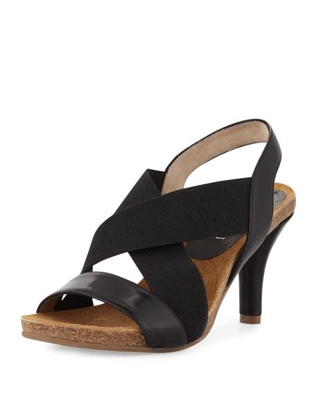 Bella Crisscross Stretch Sandal, Black