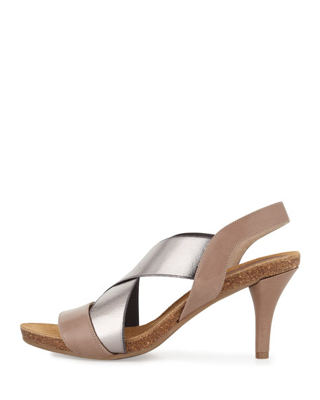 Bella Crisscross Stretch Sandal, Latte