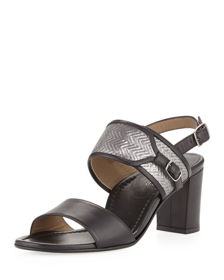 Maria Embossed Leather Sandal, Black