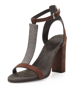 Brunello Cucinelli Chain T-Strap High-Heel Sandal, Dark Brown