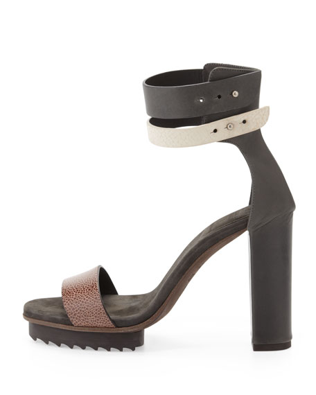 Double-Ankle-Wrap Platform Sandal, Black Multi