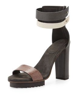 Brunello Cucinelli Double-Ankle-Wrap Platform Sandal, Black Multi