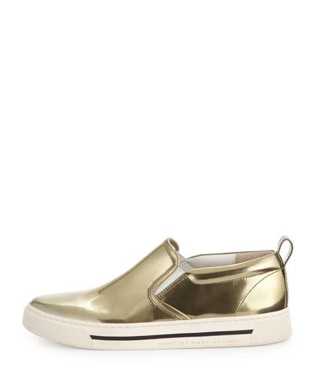 Metallic Reflective Slip-On Sneaker, Gold
