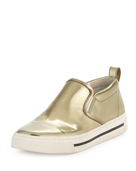 Metallic Reflective Slip-On Sneaker, Gold