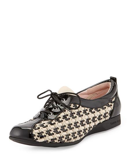 Taryn Rose Trudee Woven Lace-Up Sneaker, Bone/Black