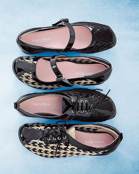 True Woven Mary Jane Sneaker, Bone/Black