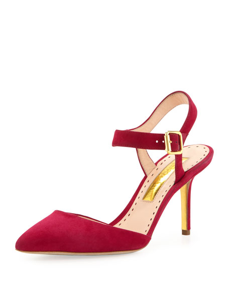 Suede Ankle-Strap Pump, Raspberry