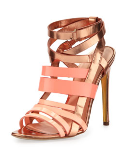 Rupert Sanderson Strappy Metallic Leather Sandal, Rose Gold/Peach