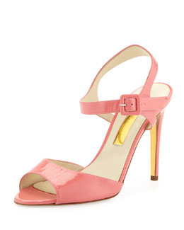 Rupert Sanderson Patent Leather Sandal, Pool
