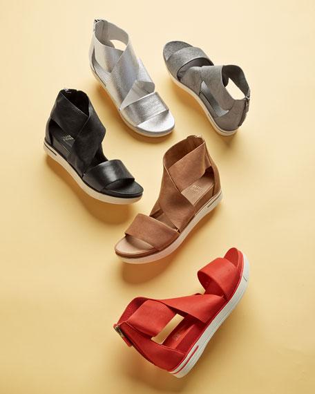 Sport Wide-Strap Metallic Sandal, Platinum