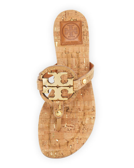 Tory Burch Miller Cork Logo Thong Sandal, Natural