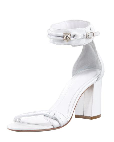 Napa Skull Ankle-Wrap Sandal, Cream