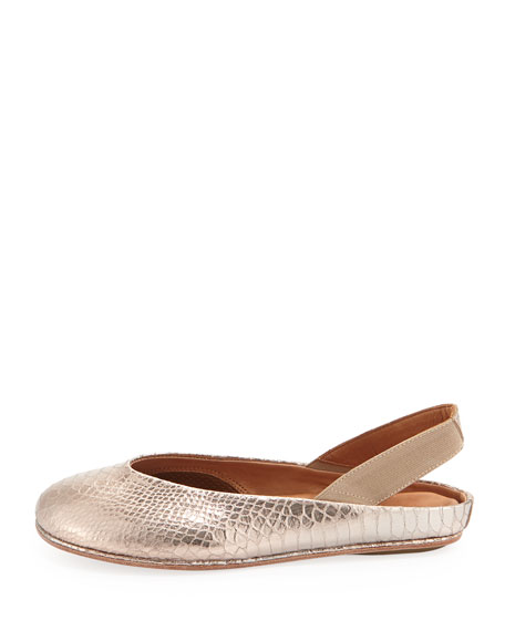 Gretchen Snake-Print Stretch Slip-On, Pink