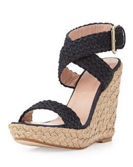 Stuart Weitzman Alex Crochet Ankle-Wrap Wedge, Black