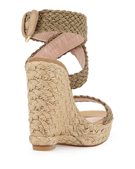 Alex Crochet Ankle-Wrap Wedge, Swamp