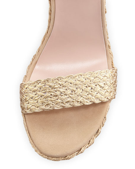 Alex Crochet Ankle-Wrap Wedge, Gilt