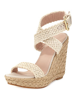 Stuart Weitzman Alex Crochet Ankle-Wrap Wedge, Ivory