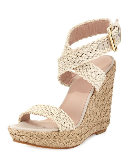 Alex Crochet Ankle-Wrap Wedge, Ivory