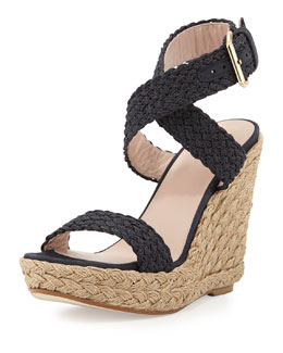 Stuart Weitzman Alex Crochet Ankle-Wrap Wedge, Navy