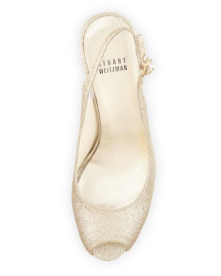 Litely Glitter Slingback Sandal, Gold