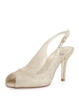 Stuart Weitzman Litely Glitter Slingback Sandal, Gold