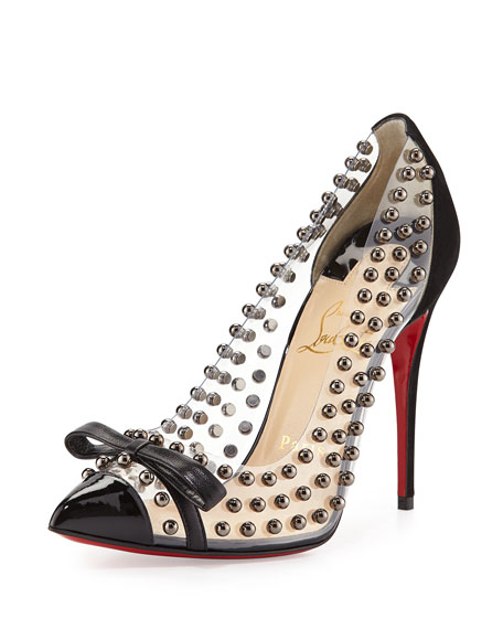 Bille Studded PVC Red Sole Pump, Black