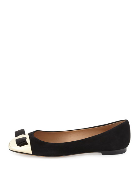Varina Cap-Toe Bow Flat, Black