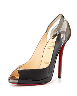 Christian Louboutin Technicatina Peep-Toe Combo Pump