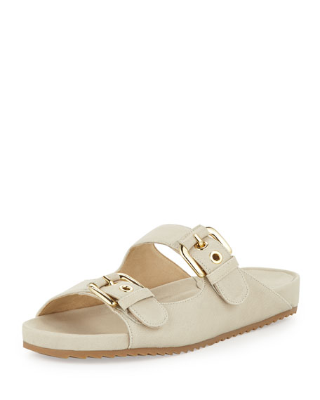Freely Buckled Leather Sandal, Vanilla