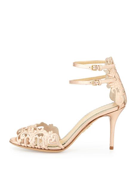Margherita Metallic Cutout Sandal, Rose Gold