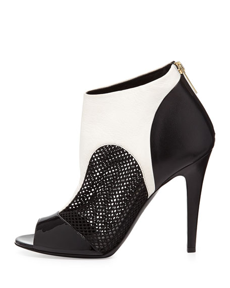 Peep-Toe Combo Ankle Boot, Black/White