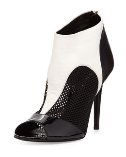 Tamara Mellon Peep-Toe Combo Ankle Boot, Black/White