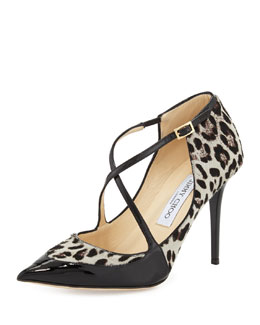 Jimmy Choo Mallow Calf Hair Crisscross Pump, Leopard/Black