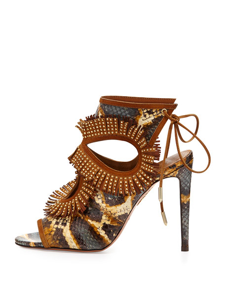 Snakeskin Fringe Cutout Sandal, Honey/Berry